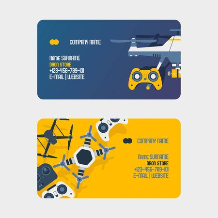 Air drones, quadrocopters and remote control drones business card wireless flight aerial robot vector illustration. Fly innovation camera gadget. Professional rotor security controller quadcopter.