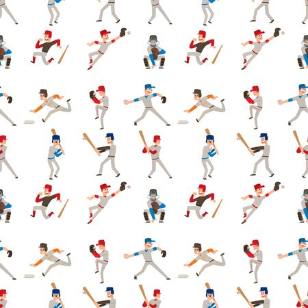 Baseball team player vector sport man in uniform game poses situation professional league sporty character winner illustration. Boy competition adult athlete person seamless pattern background. 版權商用圖片 - 128168652