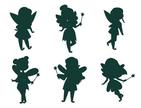 Fées princesse silhouette fée fille vecteur personnage mignon beau style dessin animé petit costume de mode féerique robe fantaisie magique enfant couronne de conte de fées. Adolescente heureuse de fée douce avec des ailes.