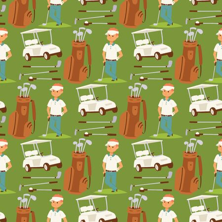 Golf player clothes and accessories vector illustration. Golfing club male outdoor game seamless pattern background swing sport hobby equipment professional play competition lifestyle.