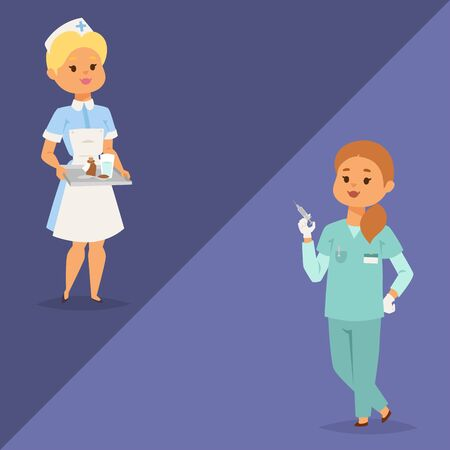 Doctor enfermera personaje vector médico mujer personal diseño plano hospital equipo personas doctorado ilustración estilo plano diferente carácter médico. Trabajador humano médico de dibujos animados profesional.