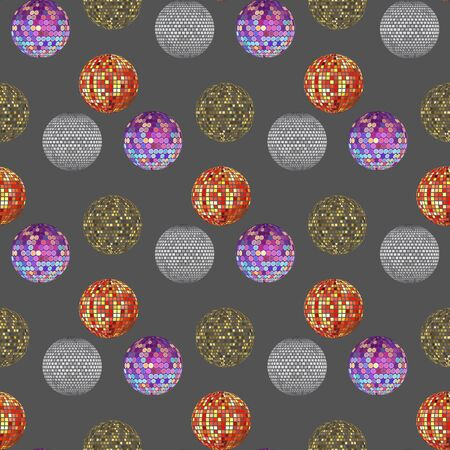 Disco ball discotheque dance music party equipment vector illustration. Shiny music entertainment party night club dance seamless pattern background