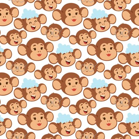 Monkeys rare animal vector cartoon macaque like people nature primate character wild zoo ape chimpanzee illustration. Wildlife jungle monkey animal seamless pattern bakground. Ilustração