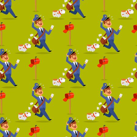 Postman delivery man character vector courier occupation carrier package seamless pattern background. Mail shipping deliver people with envelope. Delivering mailmen postman conveyance.
