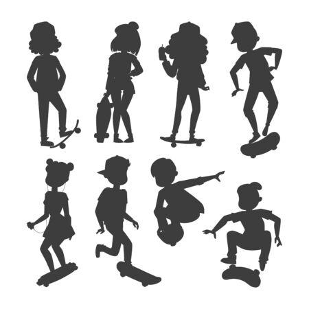 Personajes de patineta vector elegante patinaje infantil ilustración skate dibujos animados actividad masculina silueta extrema skateboarding.