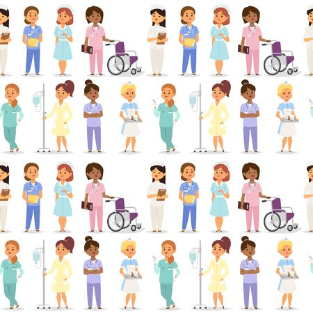 Doctor nurse character vector medical woman staff flat design hospital team people doctorate illustration seamless pattern bakground doctor character. Professional cartoon medical human worker. Illustration