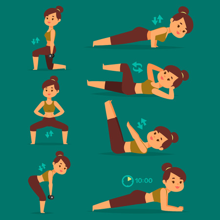 Woman home workout vector exercising at home fitness character training coaching healthy living and diet concept illustration.  イラスト・ベクター素材
