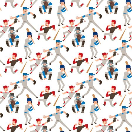 Baseball team player vector sport man in uniform game poses situation professional league sporty character winner illustration. Boy competition adult athlete person seamless pattern background.
