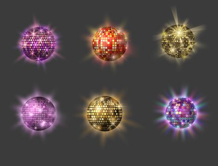 Disco ball discotheque dance music party equipment vector illustration. Shiny music entertainment party night club dance