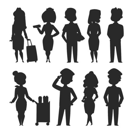 Pilotes et hôtesse de l'air vector illustration silhouette caractère de la compagnie aérienne personnel de l'avion personnel hôtesse de l'air hôtesses de l'air commande de personnes.
