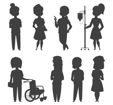 Doctor nurse character vector silhouette medical woman staff flat design hospital team people doctorate illustration Flat style different doctor character. Professional cartoon medical human worker.