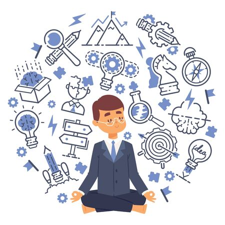 Office worker doing yoga to calm down stressful emotion from hard work in office with thoughts and ideas icons background. Concept of meditation for banners. illustration.