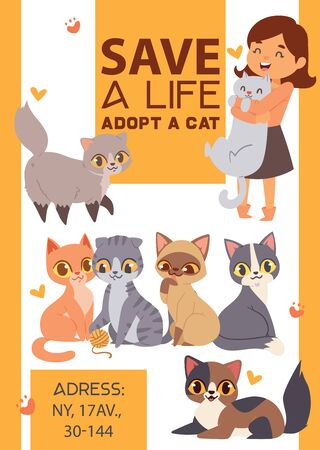 Children with pets adopt friendship poster illustration. Love child and cat adoption.