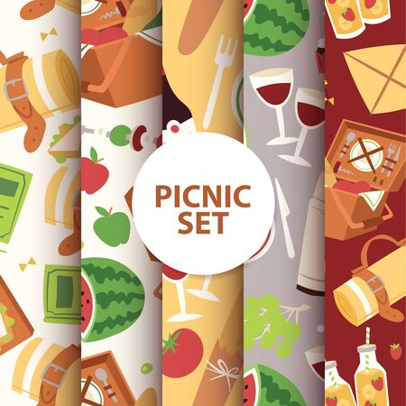 Cartoon basket picnic with food, drinks and cutlery seamless pattern illustration. Watermelon apples juice sandwiches, grapes, wine glass background. Standard-Bild - 126225241