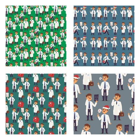Doctor nurse character vector medical man staff seamless pattern background flat design hospital team people doctorate illustration.