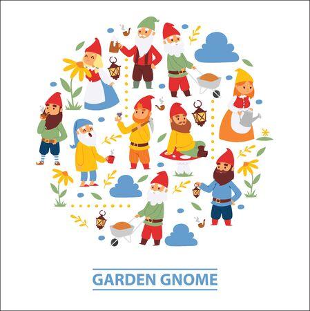 Garden gnome beard dwarf characters wallpaper and gardening flayer klitsch family figure background illustration