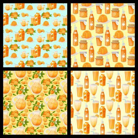 Arance e prodotti arancioni illustrazione vettoriale. Fondo senza cuciture di vettore di agrumi naturali freschi. Prima colazione tropicale succosa di bellezza del dessert Alimento sano delle arance del succo organico.