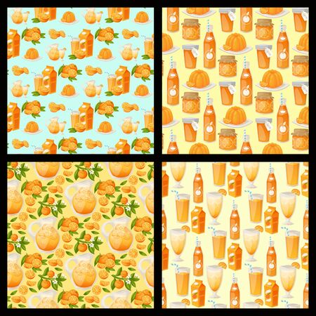 Oranges and orange products vector illustration. Fresh natural citrus fruit vector seamless pattern background. Juicy tropical dessert beauty breakfast Organic juice healthy oranges food. Çizim