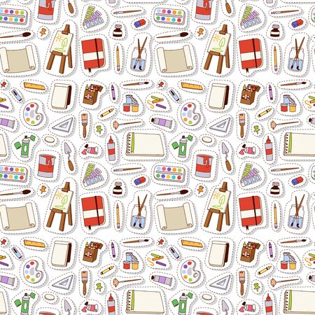 Painting art tools palette vector illustration details stationery creative paint equipment seamless pattern background. Canvas digital drawing artist instrument for creativity art tools decoration.