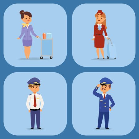 Pilots and stewardess vector illustration airline character plane personnel staff air hostess flight attendants people command. Flight attendants captain professional pilots and stewardess. Standard-Bild - 128168741