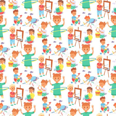 Children playing vector different types of home games little kids play summer outdoor active leisure. Young people group friends childhood activity. Children playing games seamless pattern background.