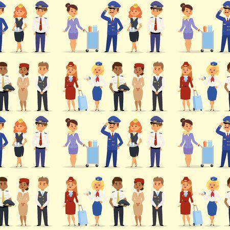 Pilotes et hôtesse de l'air vecteur caractère aérien personnel d'avion personnel hôtesse de l'air hôtesse de l'air personnes commandent. Hôtesse de l'air, pilotes et hôtesse de l'air de fond transparente.