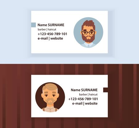 Hipster Barber Shop Business Card design template. Gentlemen s Club illustration. Men with modern stylish haircuts, beard, mustache, glasses. Haircare for males. Stock fotó