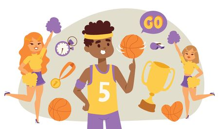 Basketball player bouncing ball in the gym with cheerleaders illustration. Smiling girls, boy in uniform, trophy, medal, stopwatch, whistle.