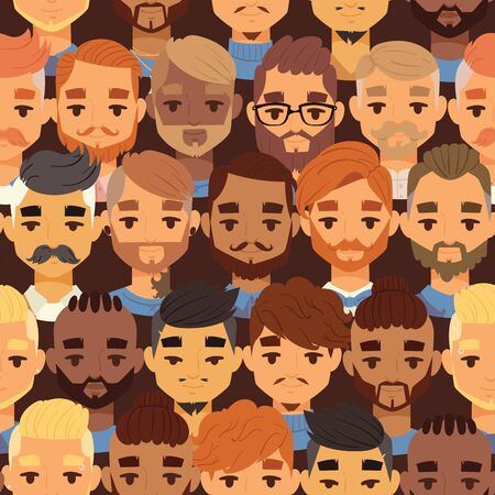 Bearded men faces hipsters head with different haircuts illustration. Haircuts, beard, mustache, glasses, goatee. Haircare in gentlemen s club for posters, banners.