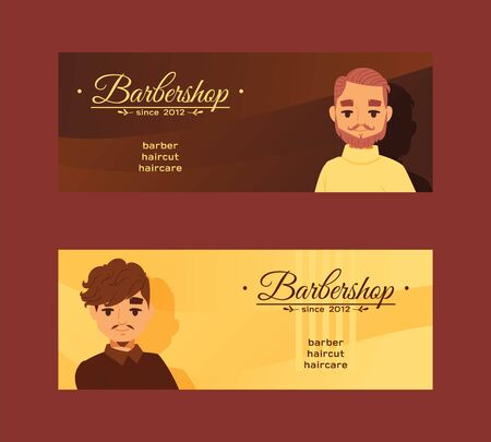 Barbersop banner illustration. Hipster style haircuts, beard, mustache, haircare. Cartoon male character faces. Gentlemen s Club brochure, poster.