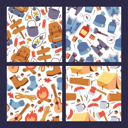 Camping hiking stickers seamless pattern illustration. Cartoon tourism equipment for travelling wallpaper.