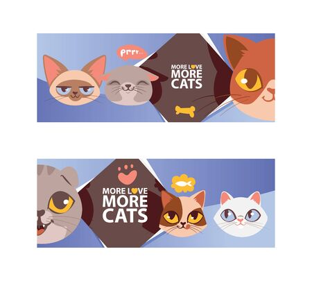 Funny cat faces banner ilustration. Cartoon cute kitten portraits. Animal heads. More love more cats. Pet thinking about fish food. Lovely animals flyer, poster.