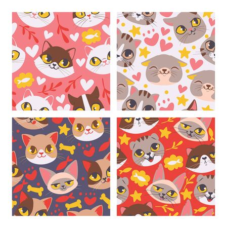 Cat face seamless patten illustartion. Cute cartoon pet heads background.. Lovely kittens with fish and bones. Domestic pets with different emotions. Happy and smiling kitties.
