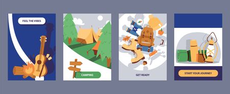 Camping cards set illustration. Cartoon hiking outdoor elements. Feel the vibes. Get ready. Start your journey. Archivio Fotografico - 126843817