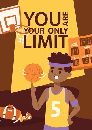Basketball player in uniform with ball. Supplies for sport game. Basket, scoreboard. You are your only limit. Cartoon illustration banner, brochure, poster.