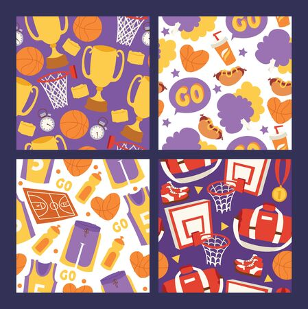Basketball sportswear and equipment seamless pattern illustration. Ball in net hoop, basketball court. Sportsman clothes for gym, victory in competition background.