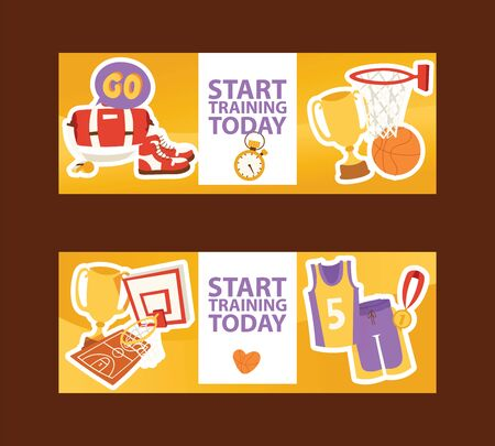 Basketball tournament sport illustration. Start trainig today. Equipment uniform, medal, basket, bag, trainers, cup, whistle court banner, brochure, poster.