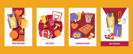 Basketball cads illustration. Invitation. Victory. Cheerleader. Get ready. Uniform, trophy, medal, basket, ball, stopwatch, pom, whistle. For banner, poster, invitation.