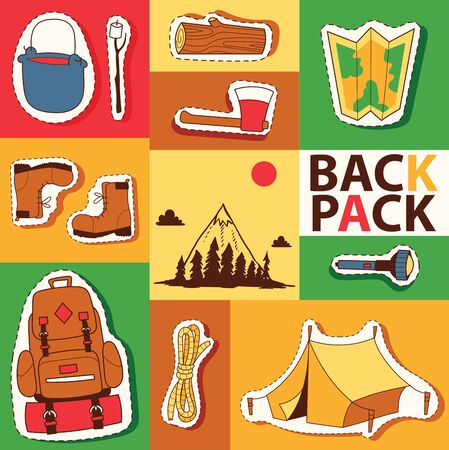 Camping stickers survival exploration tourism and hiking illustration. Tent backpack map flashlight ax boots rope mountains forest. Archivio Fotografico - 126845361