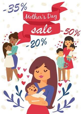 Smiling mother day with children illustration for banners or posters. Lovely motherhood. Hugging family members. Mom loves kids. Sales for holiday. Congratulations.
