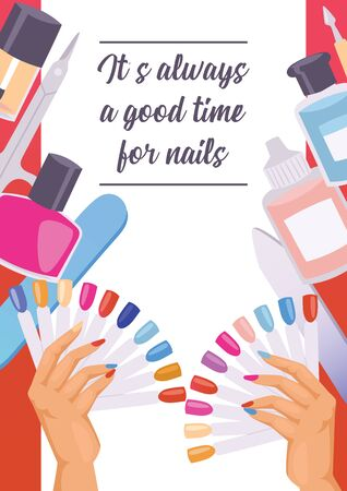 Cartoon manicure print poster. illustration of accessories for nails cuticle pusher, cuticle trimmer, nail file and scissors. Text of banner It is always a good time for nails. Stockfoto