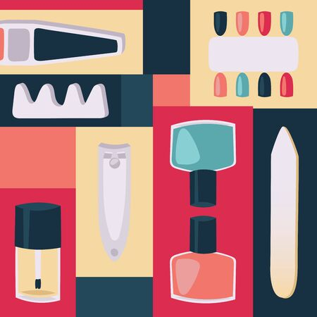 Tools for manicure illustration. Accessories and instruments for nails, toe separator, nail clippers, file, bottles with varnish, colorful design. Imagens