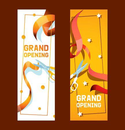 Feierliche Eröffnung des Shops, Ladenwerbung von Bannern, Plakatvektorillustration. Schneiden Sie rote und goldene Bänder mit einer Schere. Buntes strukturiertes geschweiftes Band. Elegante Broschüre, Flyer.