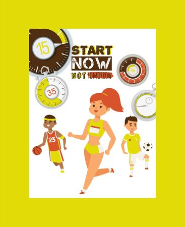 Timer concept poster vector illustration. Start now not tomorrow. Beginning doing different kinds of sport such as running, football, basketball. Sportsmen and woman exercising. Healthy lifestyle.