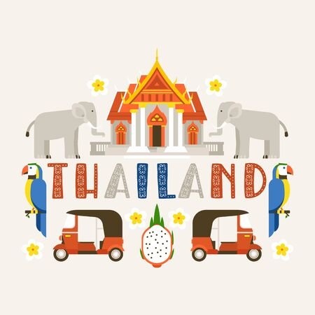 Thailand banner. Traditions, culture of country. Ancient memorials, buildings, nature and animals such as elephant, parrot bird. Transport vehicle tuk tuk vector illustration. Ilustração