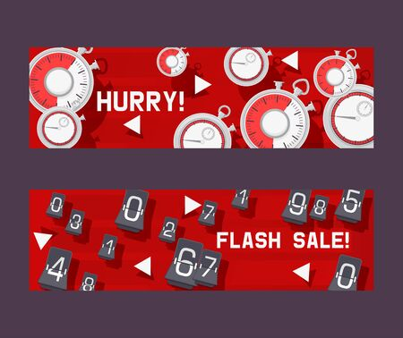 Timer concept set of banners vector illustration. Hurry not to be late for discount in shop or store. Flash sale with countdown timer. Changing numbers. Shopping things. Clock measuring time interval. 일러스트