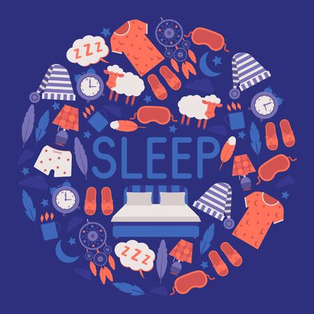 Sleep and bedroom supplies banner vector illustration. Night equipment and clothing concept. Sleeping mask and hat, pajama, clock, night light, cup of hot drink. Big sleeping bed. Dream catcher.