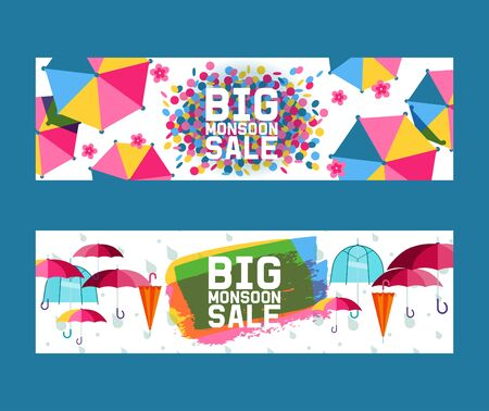 Umbrella open and closed set of banners vector illustration. Big mansoon sale. Flat icons isolated on white. Rain colorful protection symbol. Rainy weather sign. Happy mood, luck, safety Stok Fotoğraf - 127381511