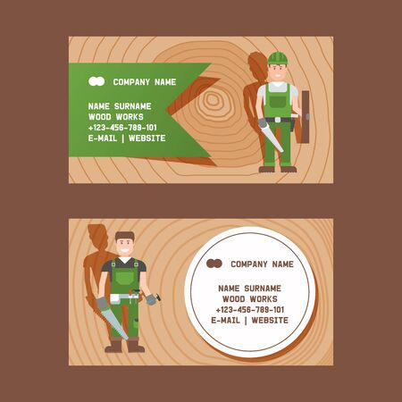 Woodworking carpentry services composition set of business cards with cutting grinding and polishing work vector illustration. Workers with equipment and supplies for trees. Foto de archivo - 127381512