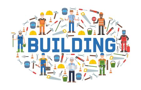 Building service tools banner vector illustration. Home repair. Construction equipment. Hand supplies for house renovation and rebuilding. Hammer, saw, putty knife. Workers with hardhat. Фото со стока - 128168770